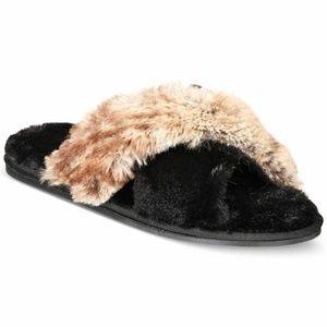 INC International Concepts Faux Fur Slippers Black